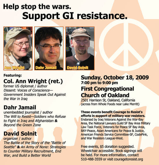 Ann Wright, Dahr Jamail & David Solint – Oct. 18, Oakland – Benefit to support GI resistance