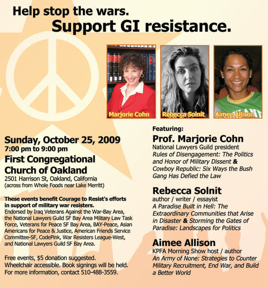 Marjorie Cohn, Rebecca Solnit & Aimee Allison – Oct 25, Oakalnd – Benefit to support GI resistance