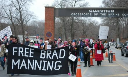 Bradley Manning supporters rally at Quantico