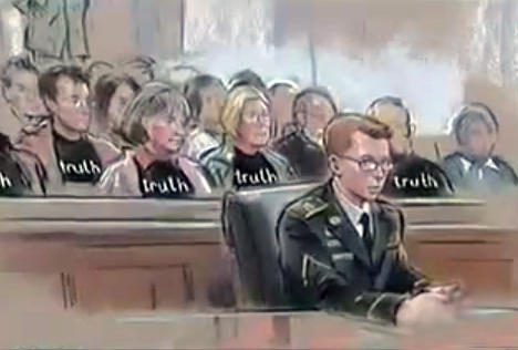 Supporters of Manning fill courtroom wearing