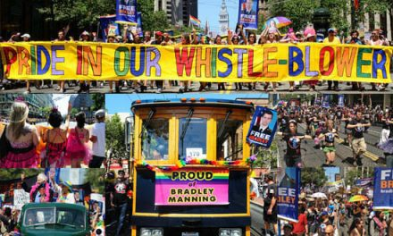 Epic Bradley Manning contingent storms SF Pride
