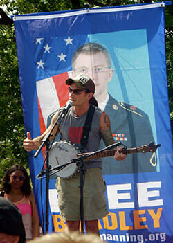 George Jacob at Fort Meade to protest to the court martial of Chelsea Manning, 6/1/13. Photo by Ward Reilly.