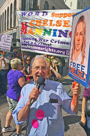Pentagon Papers whistle-blower Daniel Ellsberg marching for Chelsea Manning. SF Pride 6/29/15